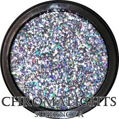 Supernova is a bright silver with a super prismatic look.  MBA Cosmetics Chromalights are a pressed glitter that is super soft with a buttery/creamy feel. They are extremely shiny with a metallic or chrome-like effect. The more you blend, the shinier they become!  Our Black compact/jar holds 3.5 gram of product, more than double the size of our small pressed glitter pans.  Chromalights are very smooth and have a soft, creamy feel. They have good adhesion on their own, but for longevity we…