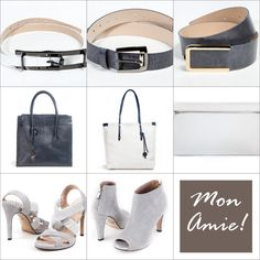 Accessories in a fashionable colors: white, navy blue and grey. You can wear it all year round. Belts, bags and shoes offered by Mon Amie can compose with autumn clothes.