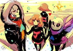 Undertale_AU_swapfell Sans and Papyrus and Chara and Frisk
