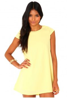 Missguided - Daira Loose Shift Dress In Lemon