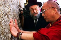 The Dalai Lama at the the Wailing Wall in Jerusalem.