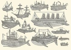 """Whale Boats"" Screen Print by Artist:  Kyler Martz...would make awesome tattoos!!"