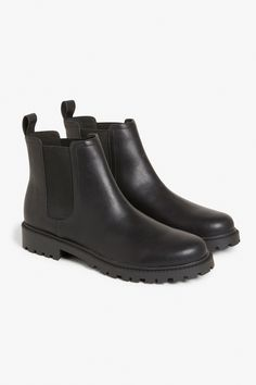Faux leather jodhpur boots with thick soles -- ideal for your winter wanderings.