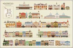 The Buildings of Main Street Walt Disney World Poster by BuchWorks