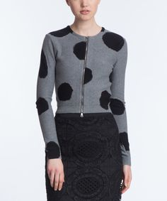 Loving this Gray Polka Dot Zip-Up Cardigan on #zulily! #zulilyfinds