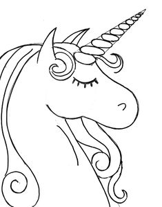 Print out unicorn head coloring pages for kids Printable