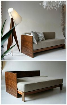 Sofa-bed with mattress and bed wood frame
