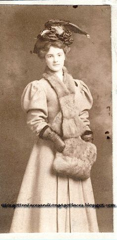 Forgotten Faces and Long Ago Places: Sentimental Sunday - Women with Hats - Lovely 1900's Woman with Hat & Fur Muff