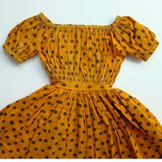 Antique C1840-60 China Head Doll Dress Rare Cheddar Color Handstitched from americanbeautydolls on Ruby Lane