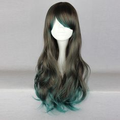 $ 22.9075 Ruler Gothic Lolita Heat Resistant Fiber 68cm Long Gray and Green Wig