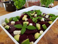 Beetroot avocado and blue cheese
