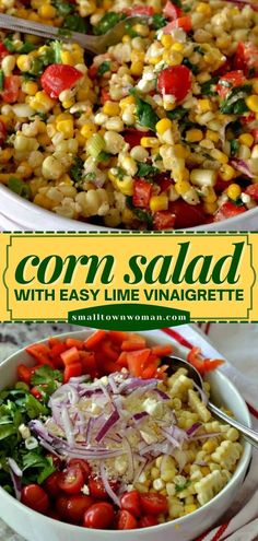 16 reviews · 20 minutes · Serves 6 · There's nothing better than an easy corn salad that tastes incredibly fresh! A drizzle of lime vinaigrette pulls this vegetable side dish all together. Serve with your summer dinner recipes! Great Salad Recipes, Healthy Dinner Recipes, Summer Recipes, Easy Vegetable Recipes, Vegetable Side Dishes, Summer Side Dishes, Side Dishes Easy, Gourmet Salad, Easy Family Meals