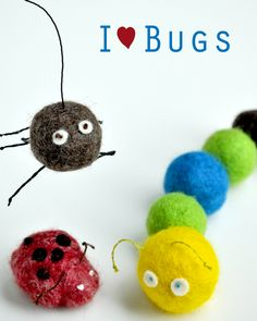 Super-fun tutorial on making wet felted bugs with kids (from Curly Birds)