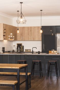 A beautifully refined colour palette is featured in this kaboodle kitchen design, including elegant spiced oak doors and panels, charcoala doors and panels, combined with the taranade benchtop. Industrial Home Design, Industrial Style Kitchen, Industrial House, Industrial Interiors, Rustic Kitchen, Industrial Furniture, Industrial Bathroom, Vintage Industrial, Industrial Stairs