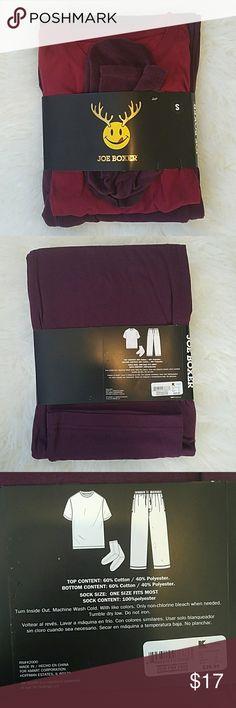 NWT Joe Boxer Cozy Pajama Set Sz Small Red Women's/Men's  Joe Boxer Pajama Shirt/Pants/Socks, new in package, MRP $29.99.  See my page for more!  Pet/smoke free home. Joe Boxer  Intimates & Sleepwear Pajamas