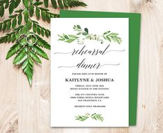 Beautiful greenery printable rehearsal dinner invitation card template that is affordable, stylish and high-resolution. You can edit and print as many as you need. –––––––––––––––––––––––––––––– SIMPLE & EASY TO USE: 1. Download the PDF file(s) 2. Open with Adobe Reader ♥ Free download at: www.get.adobe.com/reader 3. Update text fields (Your names, wedding date, etc.) 4. Print at home or local copy shop (Office Depot, Staples, FedEx Office) 5. Cut along indicated trim marks ––––––...