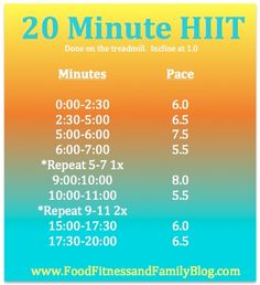 20 Minute HIIT treadmill workout, via @Madeline Fox G