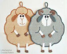 065 Crochet Pattern Mr and Mrs Sheep potholder or decor