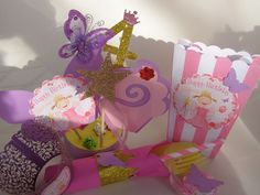 Princess Pinkalicious Birthday Party Kit Centerpiece Popcorn Boxes Cupcake Candy #BirthdayChild