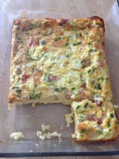 Ham and cheese egg breakfast casserole with green pepper and onion. Easiest thing ever 8 eggs 1 cup milk your choice other stuff one hour at 350 in a casserole dish