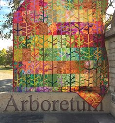 fall quilt by Springleaf Studios with Kaffe Fassett fabrics. trunk/branches are inserted, could also applique them Batik Quilts, Fall Quilts, Scrappy Quilts, Quilting Fabric, Strip Quilts, Quilt Blocks, Arts And Crafts For Teens, Art And Craft Videos, Quilting Projects