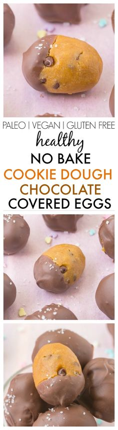 Healthy No Bake Cookie Dough Chocolate Covered Eggs- Accidentally healthy and SO easy- A fudgy cookie dough centre and a chocolate coating- NO butter, sugar or grains! {vegan, gluten free, paleo recipe}- thebigmansworld.com #Easter