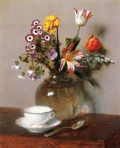 Henri Fantin-Latour - Vase of Flowers with a Coffee Cup