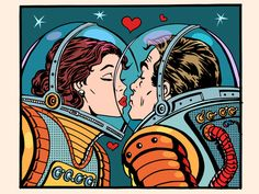 Illustration of Kiss space man and woman astronauts pop art retro style. Valentines day, wedding and love. A girl and a boy. Science and the cosmos. vector art, clipart and stock vectors. Bd Pop Art, Design Pop Art, Pop Art Vintage, Retro Art, Graphic Prints, Graphic Art, Desenho Pop Art, Colorful Wall Art, Vintage Comics