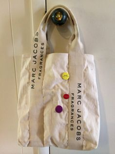 Marc Jacobs Fragrances Canvas Bag (Tote) with Buttons Fragrances, Baby Items, Marc Jacobs, Reusable Tote Bags, Buttons, Canvas, Pretty, Stuff To Buy, Fashion
