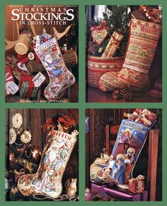 1992 Christmas Stockings in Cross Stitch Book by Donna Kooler. $9.99, via Etsy.         SEE UPPER RIGHT HAND CORNER STOCKING