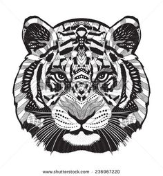 geometric drawing tiger - Google Search