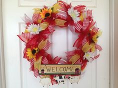Country Kitchen Everyday Thin Deco Mesh Wreath for Door or Wall Decor - Red White Yellow Ribbon Welcome Sunflower Year Round Welcome Farm
