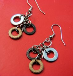 Dangle Drop Earring Mixed Metal Hardware Jewelry by additionsstyle, $11.00