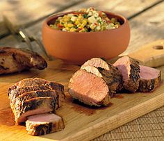 Beer-Marinated Pork Tenderloin w/Charred Corn-Cheddar Relish  #lactosefree