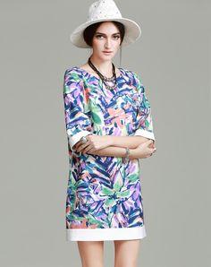 Contrast Color Print Insert Mini Dress, Iridescent Blue, vanillachocolate | VIPme