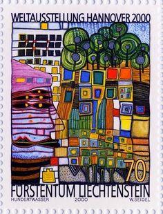 Hundertwasser Bon ok, c'est l'un de mes chouchous ! Vous pouvez voir le côté architecture dans la partie trouvailles Mais bon, je propose une autre approche ici : les timbres ! Des coloriages ...