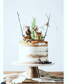 """10 Tricks to a Naked Cake - She Holds Dearly - - If you are totally intimidated by cake decorating, this simple naked cake is beautiful and forgiving. Try these decorating tips for making a """"naked cake. Boys First Birthday Cake, Camping Birthday Cake, Hunting Birthday Cakes, Baby Birthday Cakes, Boy Birthday Parties, Birthday Ideas, Woodland Cake, Woodsy Cake, Bolo Cake"""
