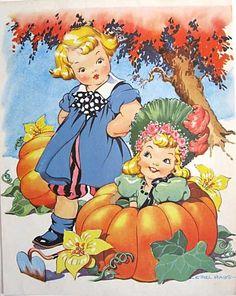 1940's Peter Pumpkin Eater Nursery Rhyme Print by Ethel Hays