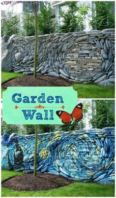 This mosaic garden wall is awe inspiring. It reminds me of Van Gogh's starry night. Adding this wall to a garden would make any garden other...