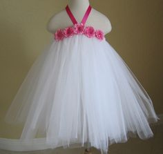 Beautiful Tulle Tutu Dress - Ballerina Tutu Dress for Flower Girl, Wedding, Birthday Party, Photo Prop or dress up.