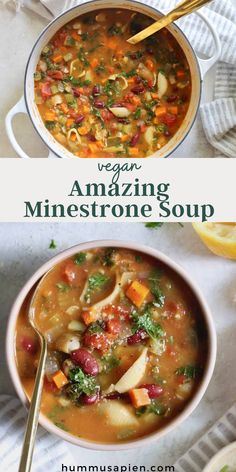 The most comforting and hearty minestrone soup recipe chock full of vegetables, pasta and beans. This veggie pasta soup is a classic for a reason! #minestronesoup #soups #souprecipes #vegetarianrecipes #vegansoup