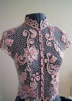 Very nice irish lace top Irish Crochet Patterns, Lace Patterns, Crochet Designs, Freeform Crochet, Filet Crochet, Crochet Stitches, Crochet Flowers, Crochet Lace, Romanian Lace