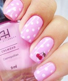 Pink And White Polka Dot Nails by TARIKISA