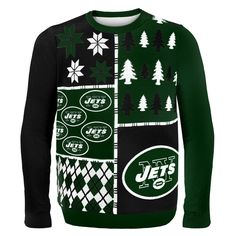 New York Jets NFL Ugly Sweater Busy Block available at uglyteams.com. Check out uglyteams.com for other merchandise and accessories! #NYJets #Jets #NYC