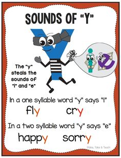 Teach Your Child to Read - Vowel sounds of Y FREE poster! - Give Your Child a Head Start, and.Pave the Way for a Bright, Successful Future.