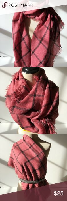 "Oblong Window Pane Plaid Scarf Very versatile rose pink and black window pane print scarf. Soft. Oblong, fringe edges all around. 100% acrylic, hand wash. One small snag (last photo) - not noticeable. In excellent condition. Worn once. 28"" x 80"". Accessories Scarves & Wraps"