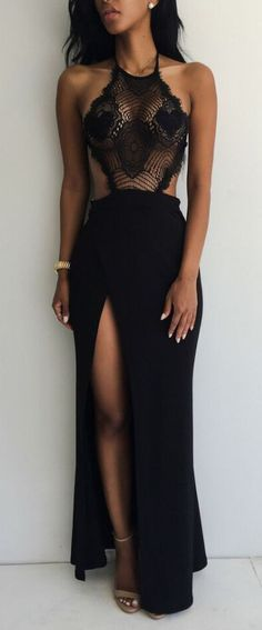 Lace Hollow Out Split Backless Sleeveless Long Dress