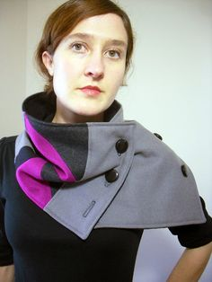 Geometric Fuchsia Pink and Gray Neck Warmer Scarf by FashionCogs (not a pattern, just an idea)