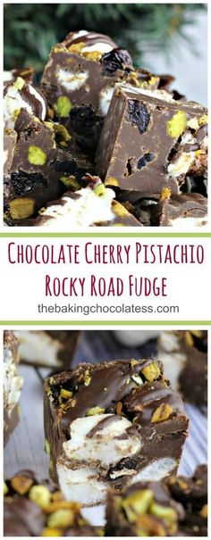 Chocolate Cherry Pistachio Rocky Road Fudge - Chocolate Cherry Pistachio Rocky Road Fudge is incredibly smooth, rich and chocolatey, bursting with lots of fluffy marshmallows, roasted and salted pistachios and tart plump dried cherries! It's pure Christmas Heaven! Great for gifting and party fun! #eaglebrand #sweetenedcondensedmilk #fudge #easydessert #rockyroad #uncookieexchange