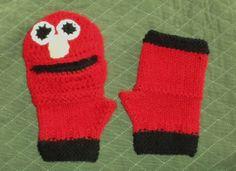Children's Comical ELMO-Like Wrist Warmers FINGERLESS GLOVES Crochet and Knitted